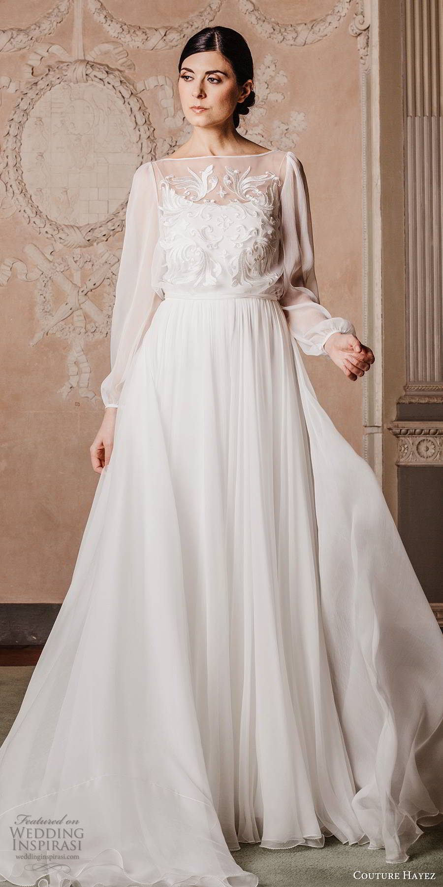 couture hayez 2020 bridal sheer bishop sleeves bateau neckline embellished bodice a line wedding dress (5) boho chic romantic chapel train mv
