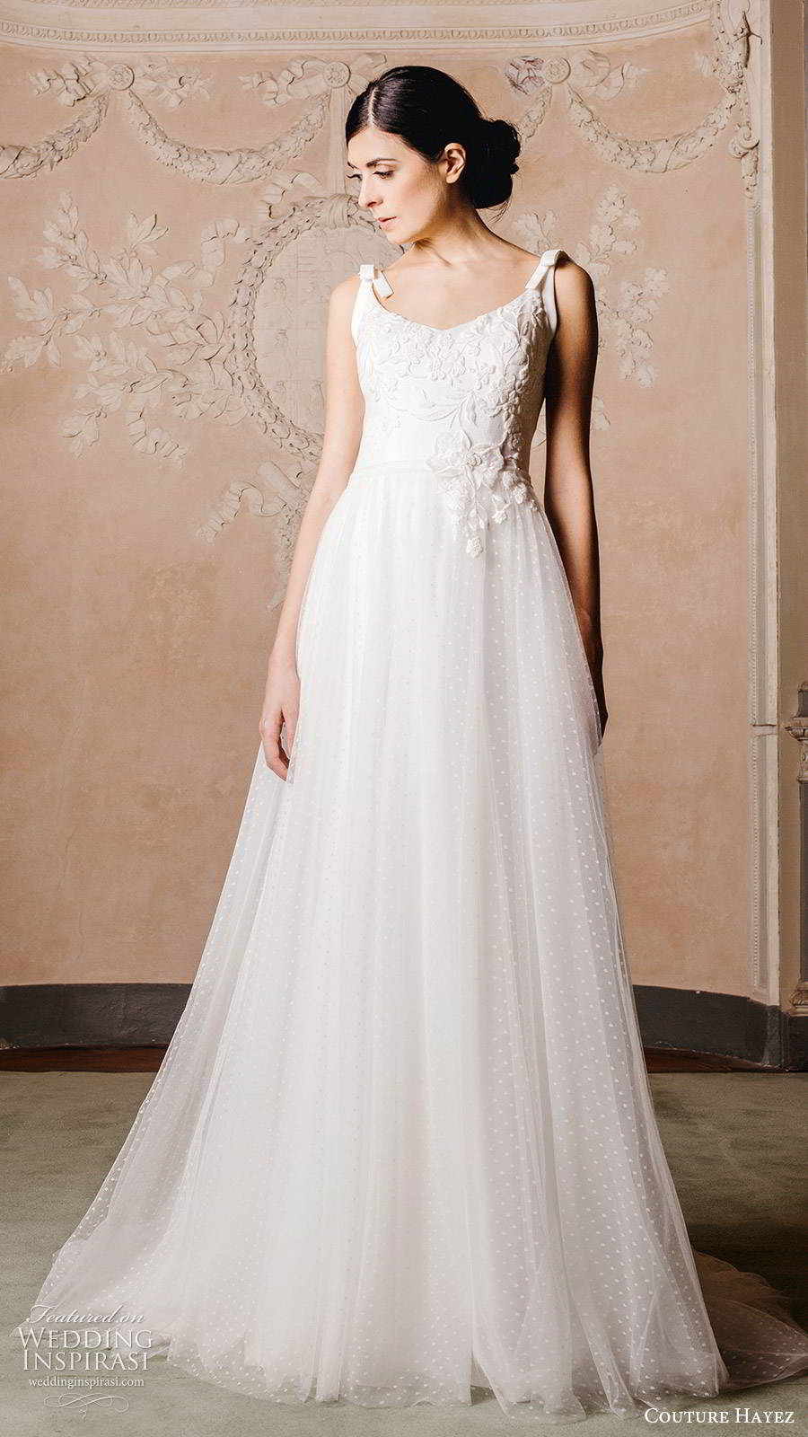 couture hayez 2020 bridal sleeveless thick straps semi sweetheart embellished bodice ball gown a line wedding dress (6) elegant romantic v back chapel train mv