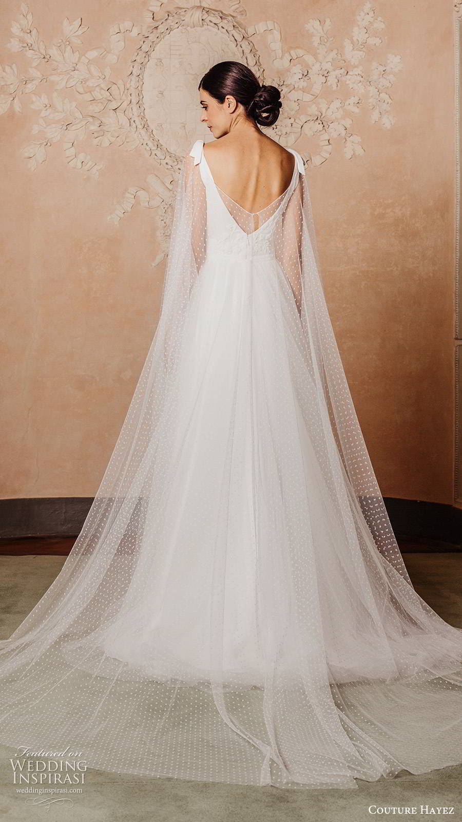 couture hayez 2020 bridal sleeveless thick straps semi sweetheart embellished bodice ball gown a line wedding dress (6) elegant romantic v back chapel train sheer cape bv