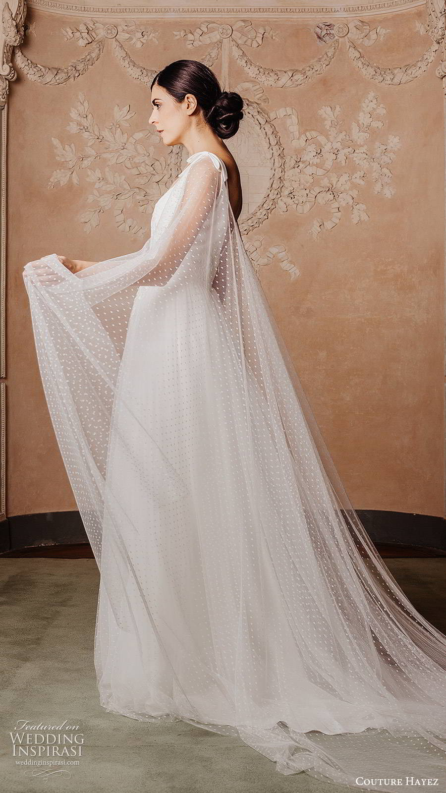 couture hayez 2020 bridal sleeveless thick straps semi sweetheart embellished bodice ball gown a line wedding dress (6) elegant romantic v back chapel train sheer cape sv
