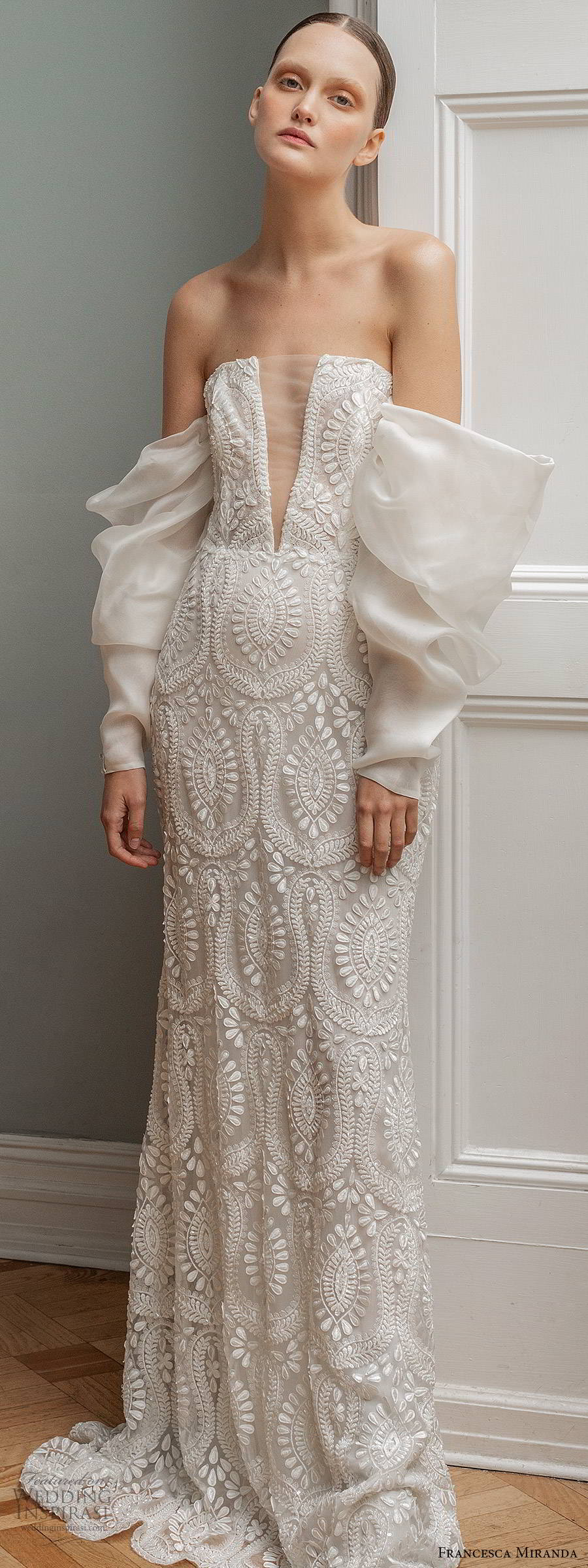 francesca miranda spring 2020 bridal detached long sleeves straight across illusion plunging neckline fully embellished lace fit flare mermaid sheath wedding dress modern sweep train (7) lv