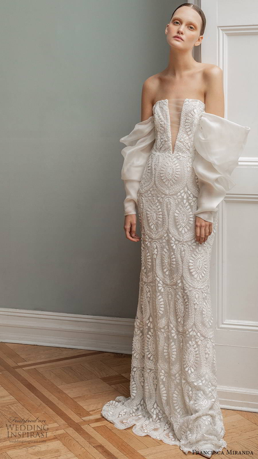 francesca miranda spring 2020 bridal detached long sleeves straight across illusion plunging neckline fully embellished lace fit flare mermaid sheath wedding dress modern sweep train (7) mv