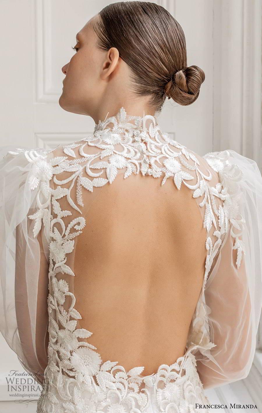 francesca miranda spring 2020 bridal illusion long puff sleeves high neckline fully embellished lace sheath wedding dress modern vintage elegant keyhole back (5) bv