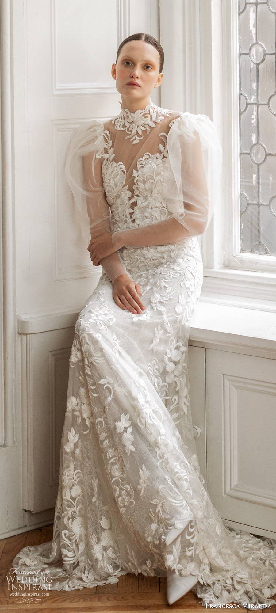 francesca miranda spring 2020 bridal illusion long puff sleeves high neckline fully embellished lace sheath wedding dress modern vintage elegant keyhole back (5) lv