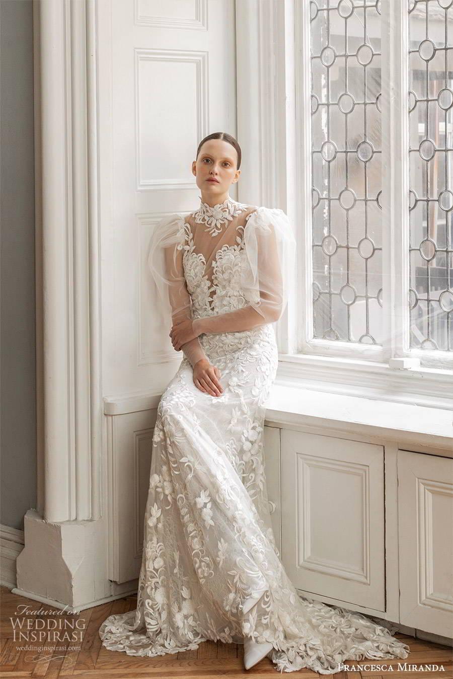 francesca miranda spring 2020 bridal illusion long puff sleeves high neckline fully embellished lace sheath wedding dress modern vintage elegant keyhole back (5) mv