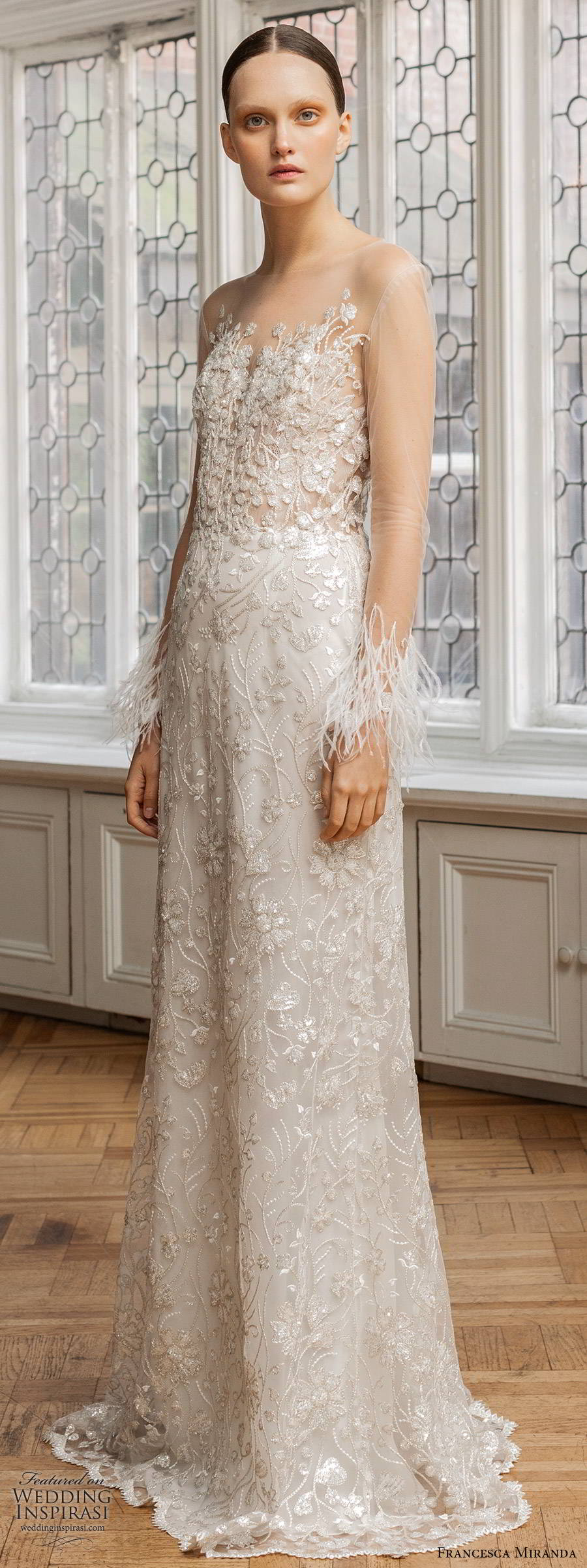 francesca miranda spring 2020 bridal illusion long sleeves sheer bateau sweetheart neckline fully embellished sheath wedding dress feathers glitzy sweep train (1) mv