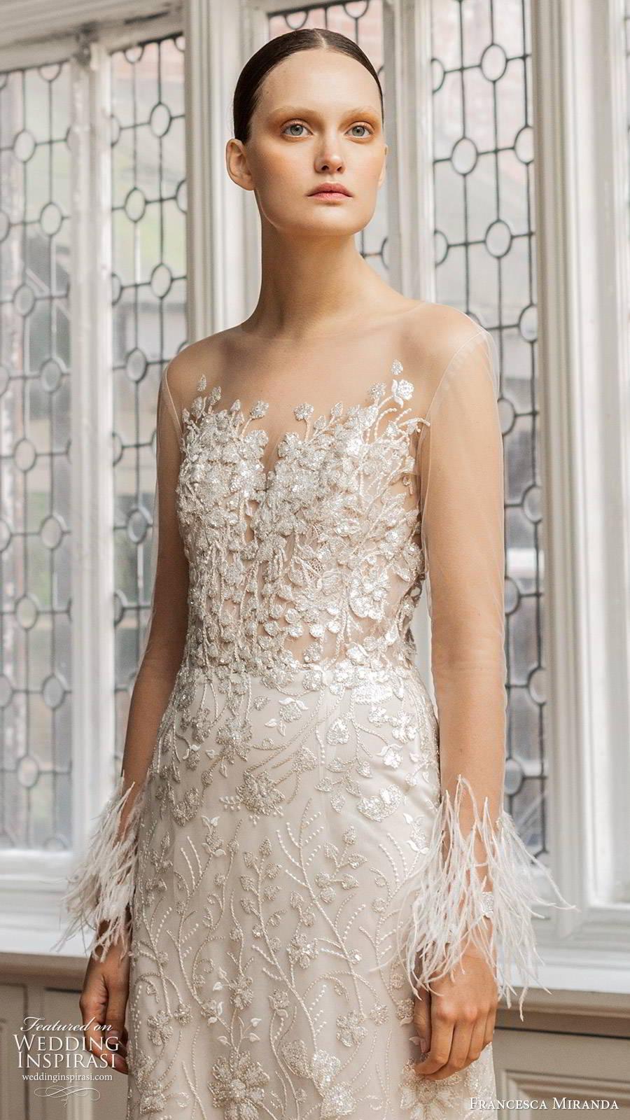 francesca miranda spring 2020 bridal illusion long sleeves sheer bateau sweetheart neckline fully embellished sheath wedding dress feathers glitzy sweep train (1) zv