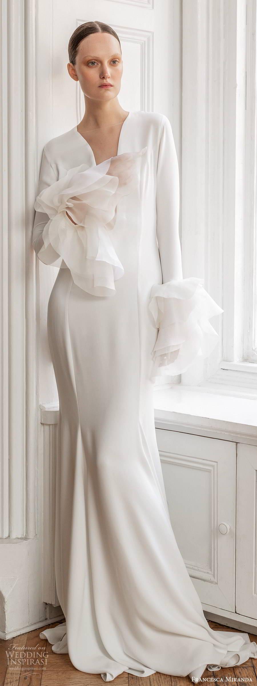 francesca miranda spring 2020 bridal long bell sleeves plunging neckline clean sheath mermaid wedding dress ruffle modern minimalist elegant sweep train (9) mv