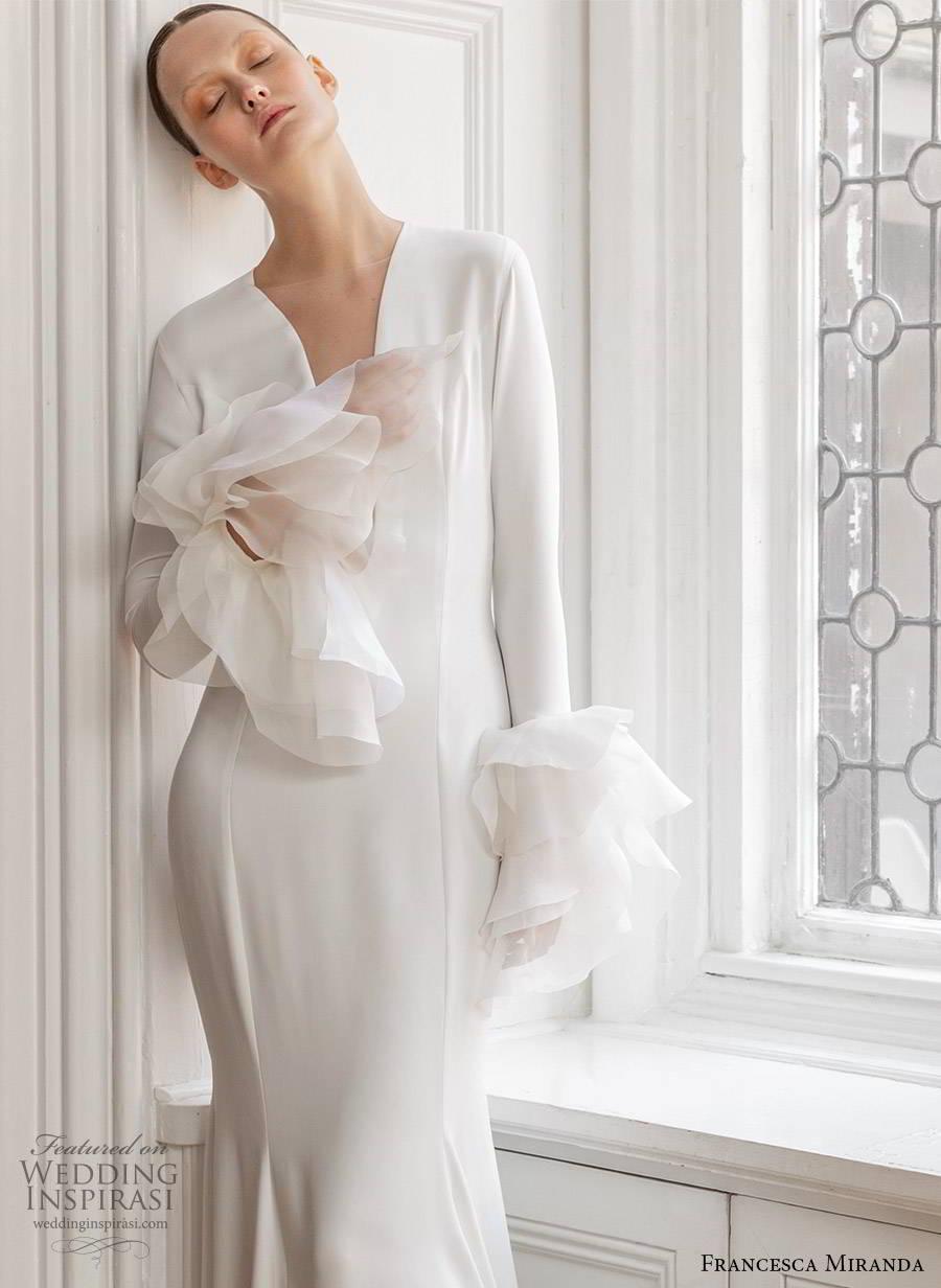 francesca miranda spring 2020 bridal long bell sleeves plunging neckline clean sheath mermaid wedding dress ruffle modern minimalist elegant sweep train (9) zv