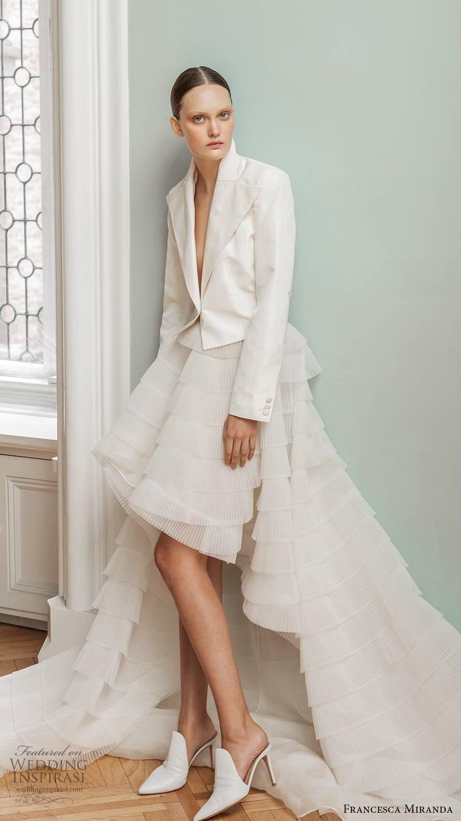 francesca miranda spring 2020 bridal long sleeve jacket a line ruffle tiered high low skirt wedding dress chapel train (10) sv