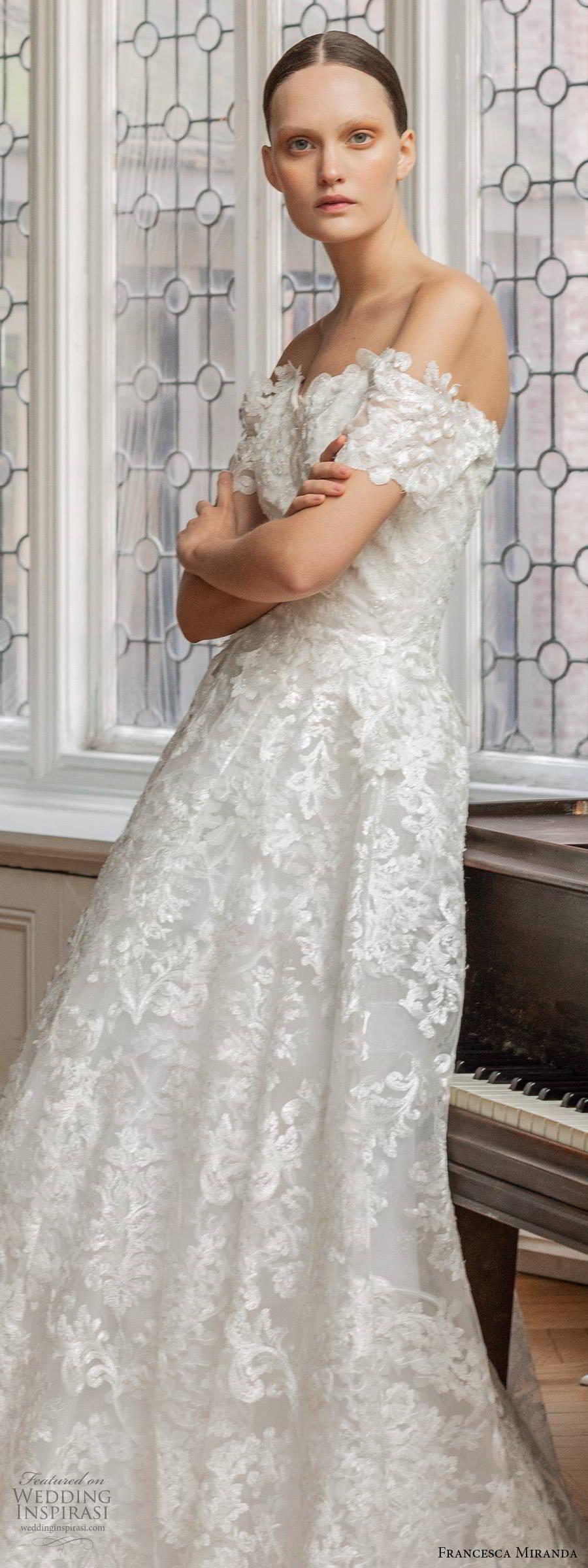 francesca miranda spring 2020 bridal off shoulder sweetheart neckline fully embellished lace a line ball gown wedding dress romantic elegant (6) lv