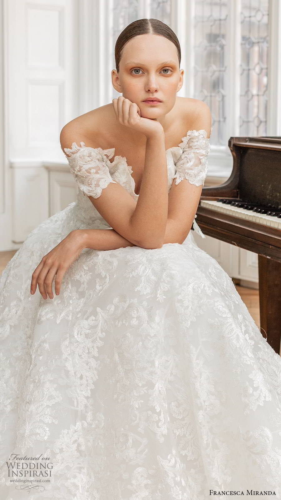 francesca miranda spring 2020 bridal off shoulder sweetheart neckline fully embellished lace a line ball gown wedding dress romantic elegant (6) mv