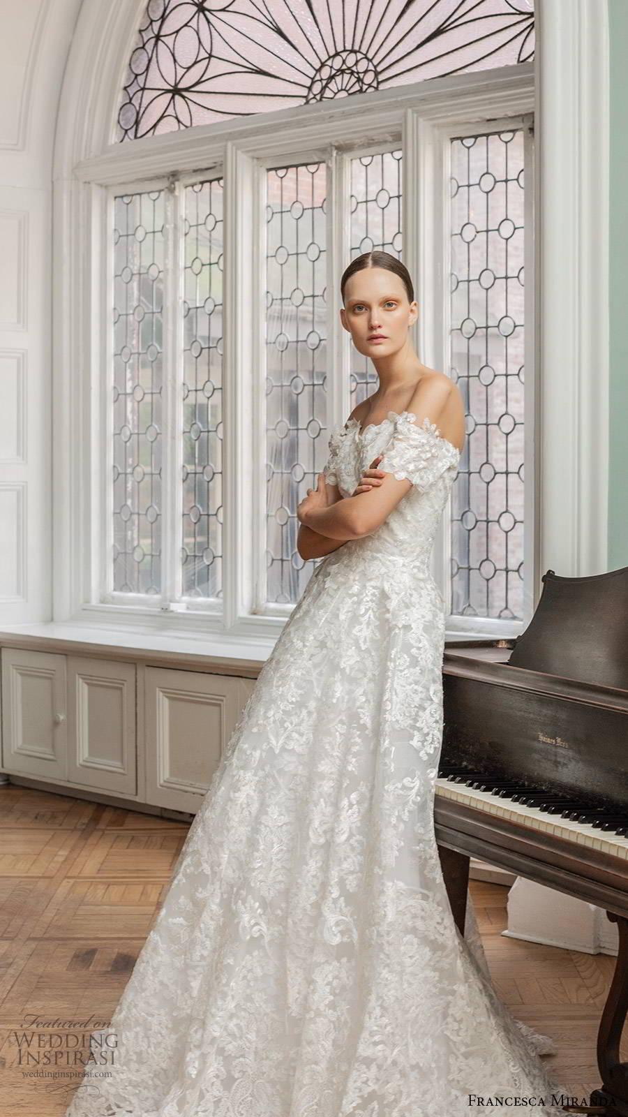 francesca miranda spring 2020 bridal off shoulder sweetheart neckline fully embellished lace a line ball gown wedding dress romantic elegant (6) sv