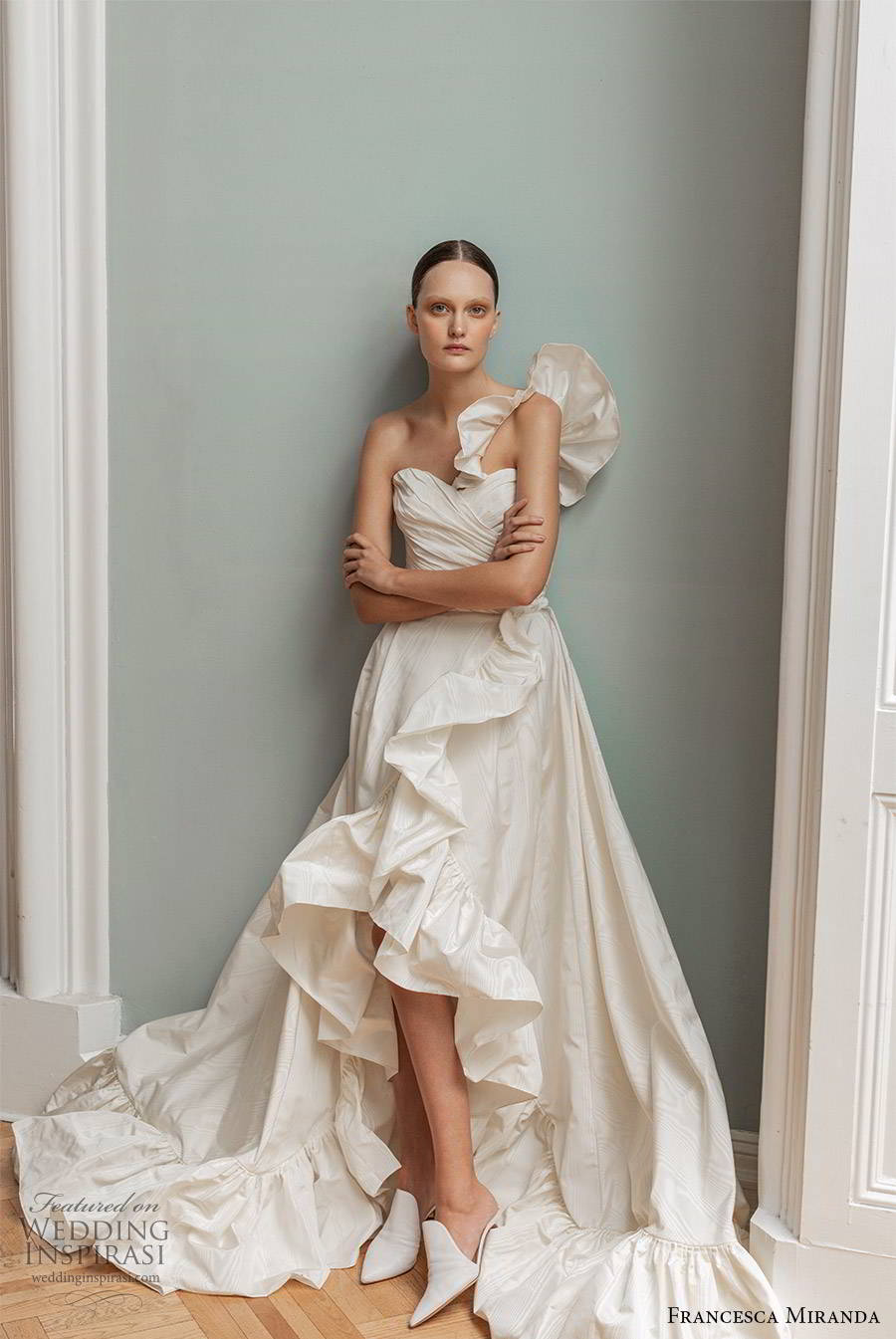 francesca miranda spring 2020 bridal one shoulder ruffle straps sweetheart neckline pleated bodice a line ball gown wedding dress high low skirt modern romantic (3) mv