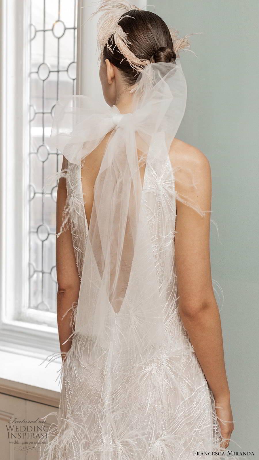 francesca miranda spring 2020 bridal sleeveless halter neckline fully embellished sheath wedding dress elegant vintage feathers bow back (11) bv