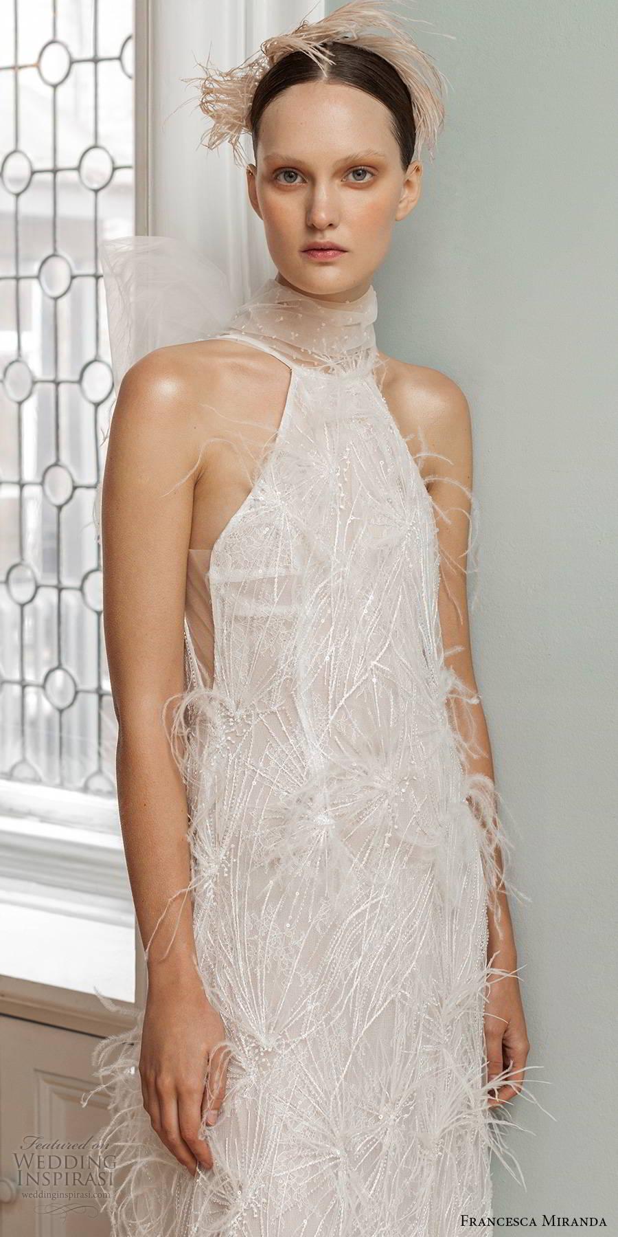 francesca miranda spring 2020 bridal sleeveless halter neckline fully embellished sheath wedding dress elegant vintage feathers bow back (11) mv