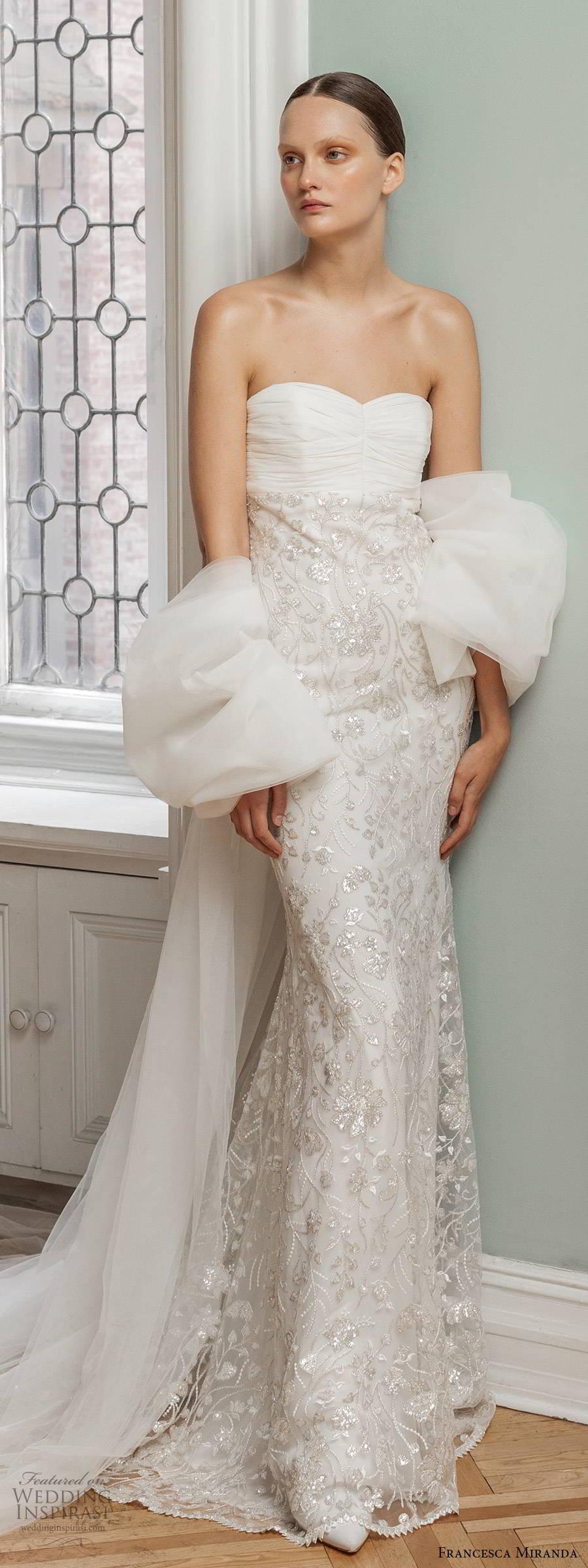 francesca miranda spring 2020 bridal strapless semi sweetheart neckling ruched bodice embellished skirt sheath wedding dress modern glam glitzy chapel train (8) lv