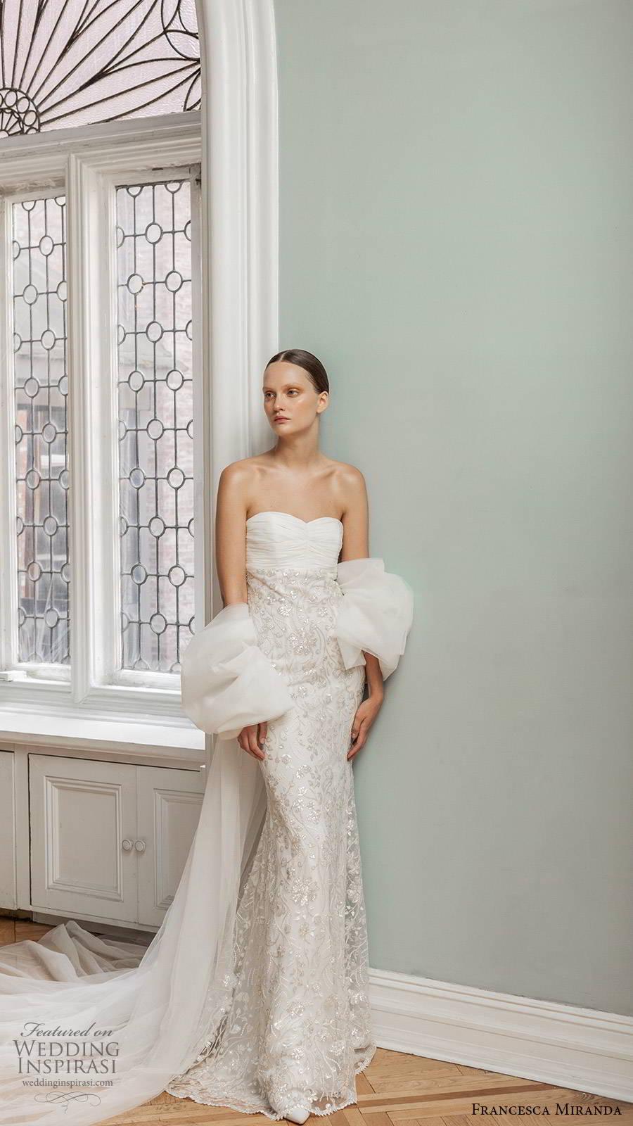 francesca miranda spring 2020 bridal strapless semi sweetheart neckling ruched bodice embellished skirt sheath wedding dress modern glam glitzy chapel train (8) mv