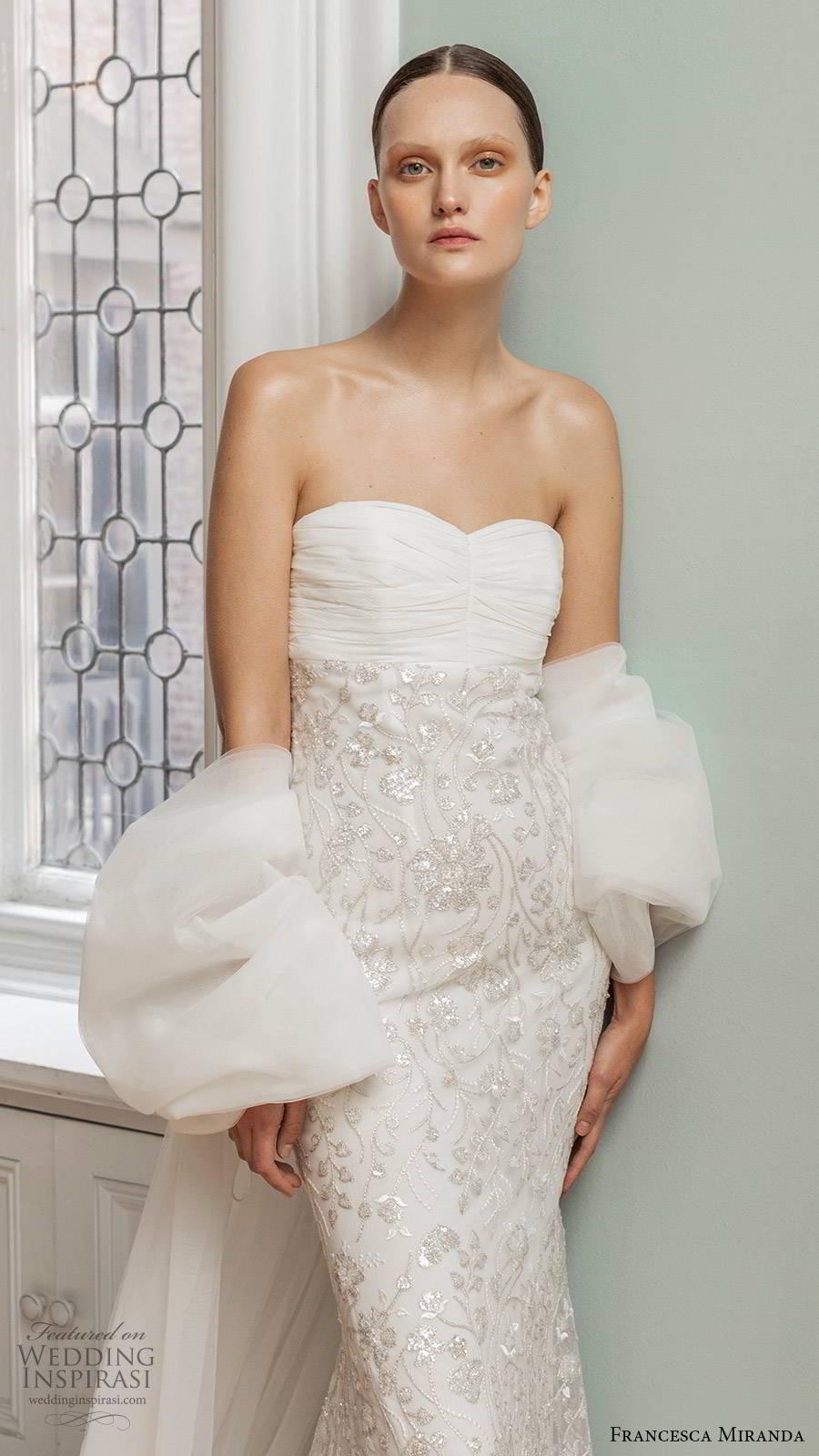 francesca miranda spring 2020 bridal strapless semi sweetheart neckling ruched bodice embellished skirt sheath wedding dress modern glam glitzy chapel train (8) zv
