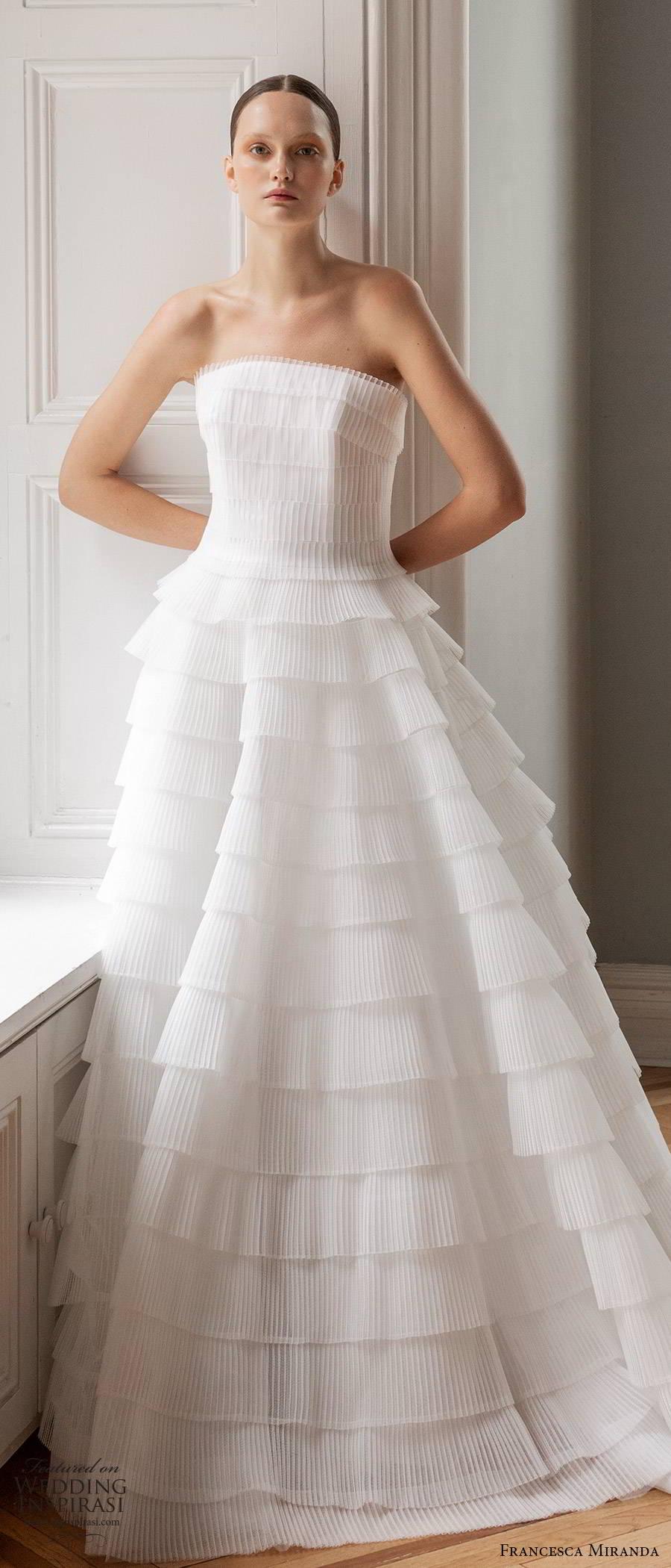 francesca miranda spring 2020 bridal strapless straight across pleated bodice ruffle tier skirt a line ball gown wedding dress elegant romantic (4) lv