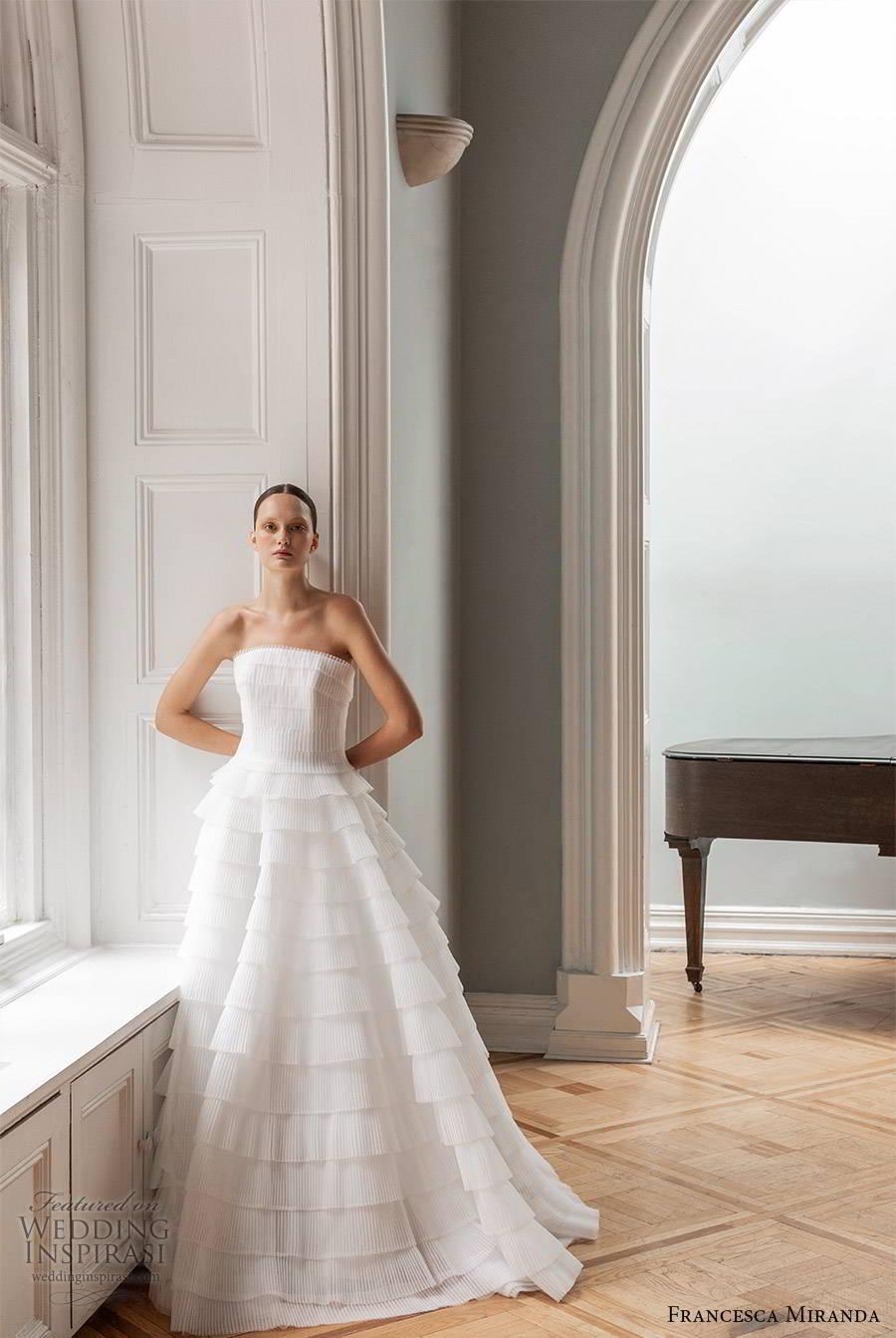 francesca miranda spring 2020 bridal strapless straight across pleated bodice ruffle tier skirt a line ball gown wedding dress elegant romantic (4) mv