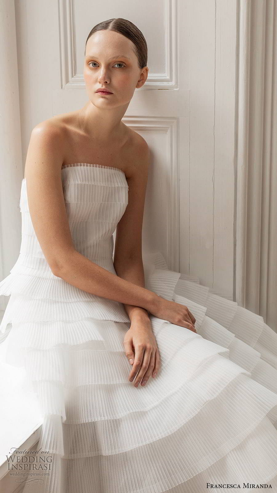 francesca miranda spring 2020 bridal strapless straight across pleated bodice ruffle tier skirt a line ball gown wedding dress elegant romantic (4) zv
