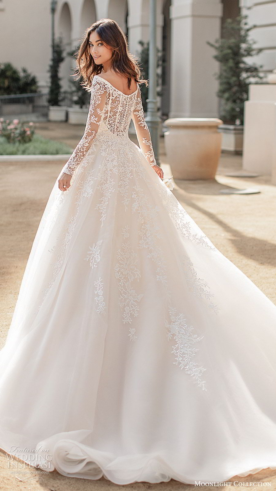 moonlight collection fall 2019 bridal illusion long sleeves off shoulder neckline fully embellished lace a line ball gown wedding dress (7) elegant princess romantic chapel train bv