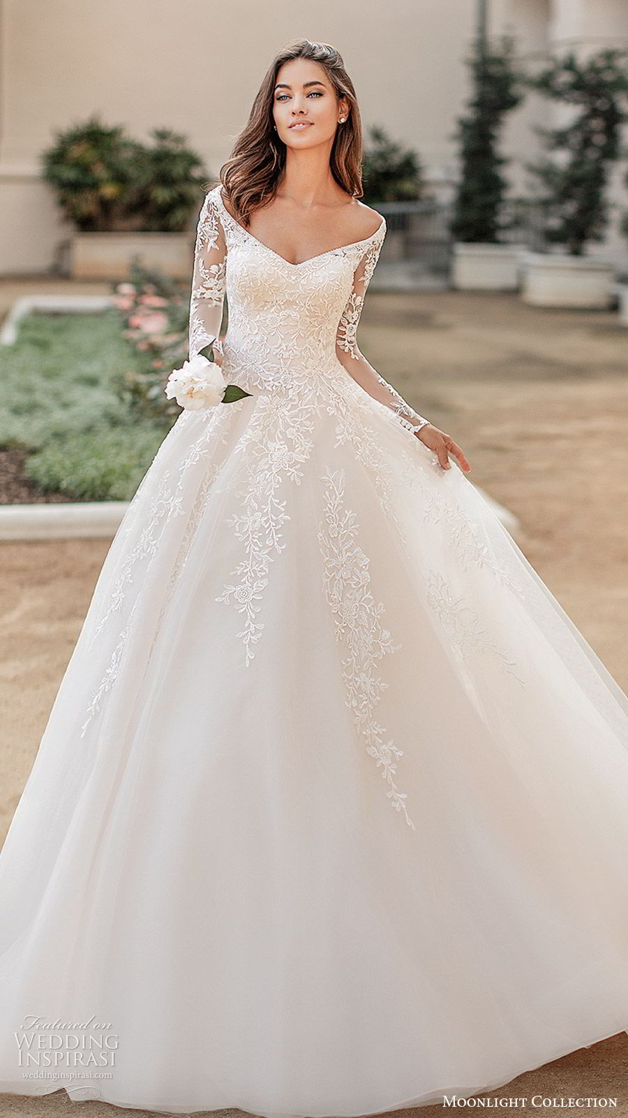 moonlight collection fall 2019 bridal illusion long sleeves off shoulder neckline fully embellished lace a line ball gown wedding dress (7) elegant princess romantic chapel train mv