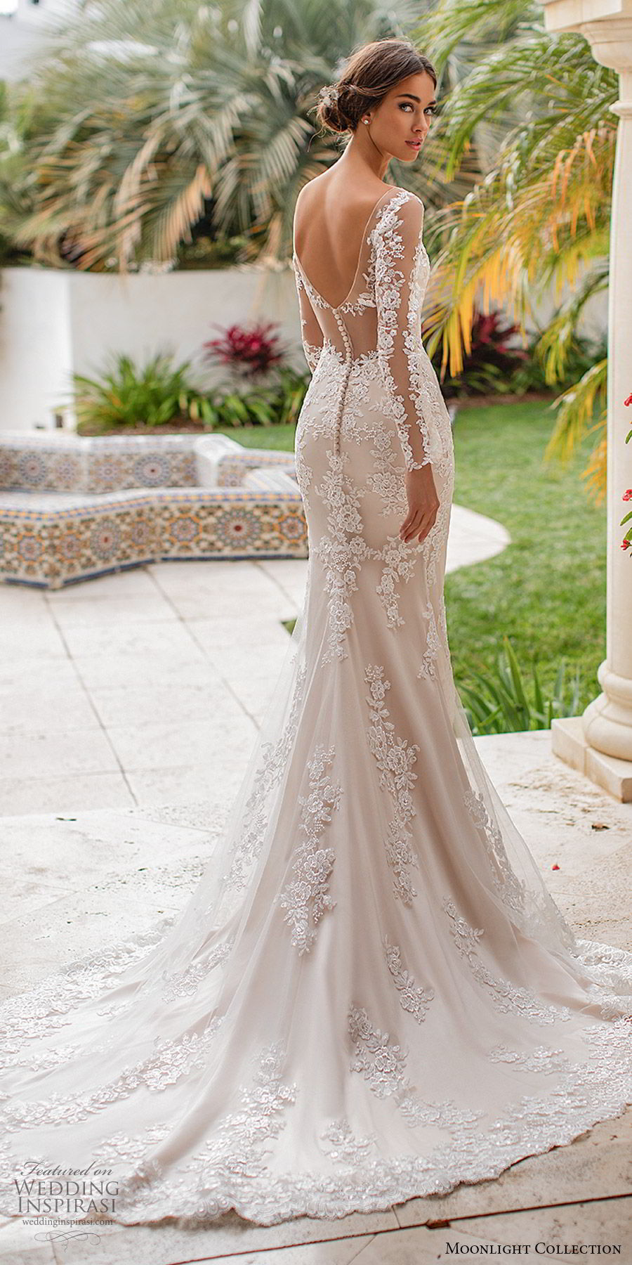 moonlight collection fall 2019 bridal illusion long sleeves sheer v neck sweetheart fully embellished lace sheath wedding dress (2) low illusion back chapel train elegant romantic bv
