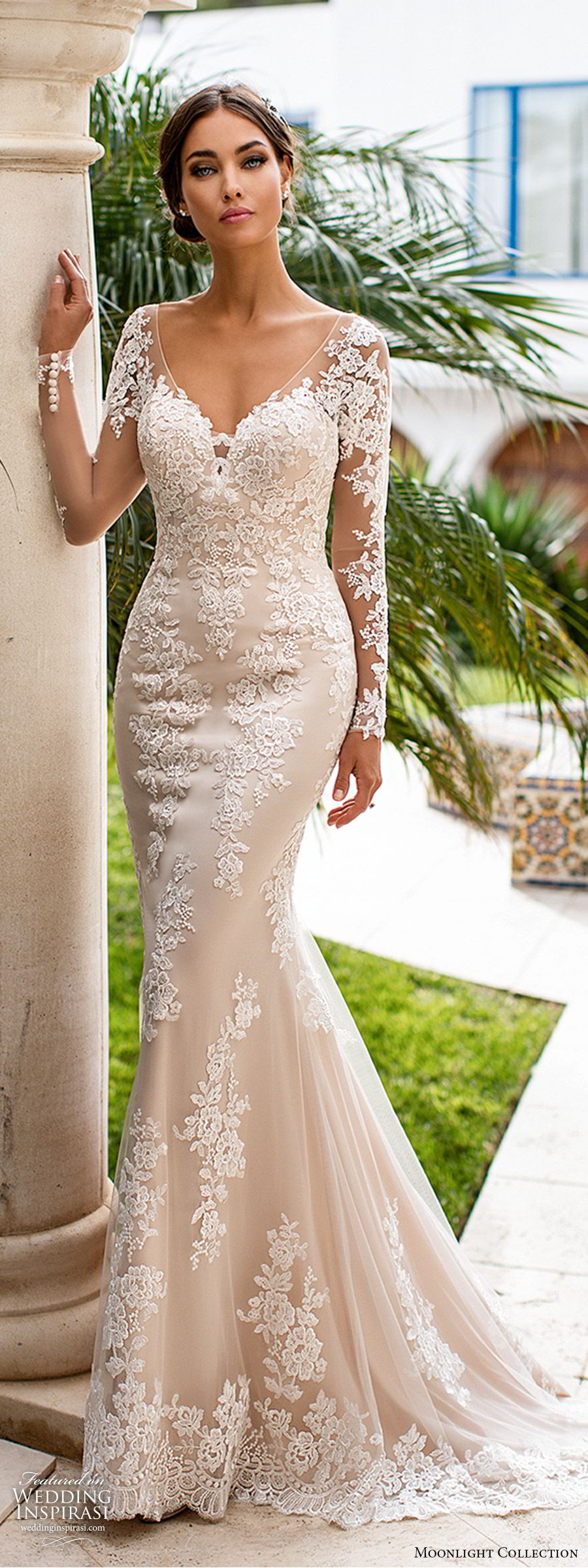 moonlight collection fall 2019 bridal illusion long sleeves sheer v neck sweetheart fully embellished lace sheath wedding dress (2) low illusion back chapel train elegant romantic mv