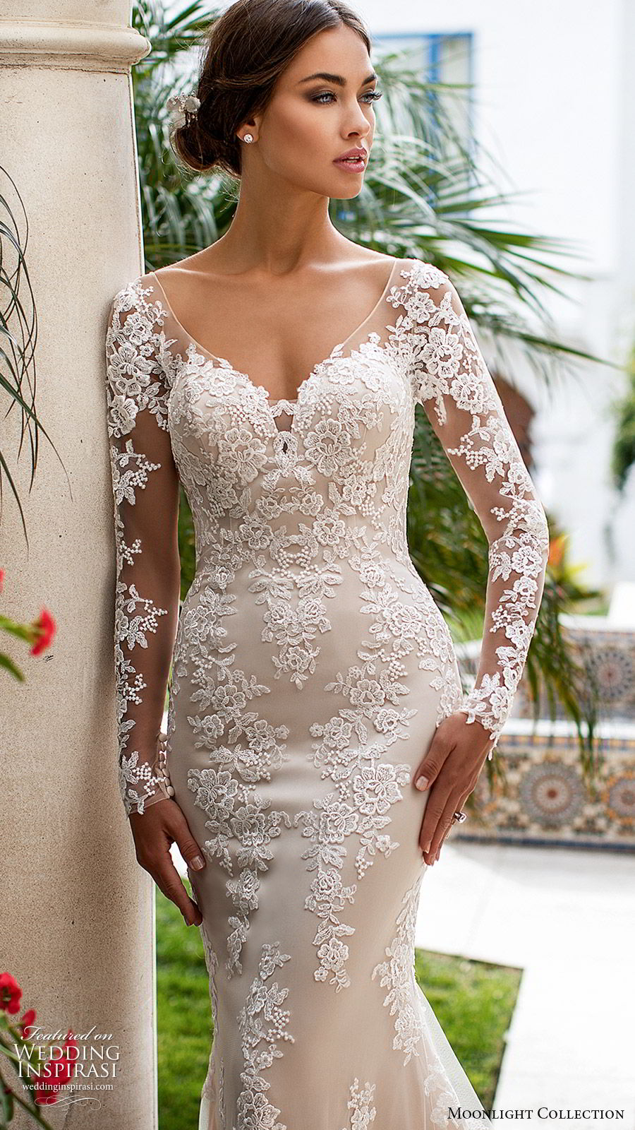 moonlight collection fall 2019 bridal illusion long sleeves sheer v neck sweetheart fully embellished lace sheath wedding dress (2) low illusion back chapel train elegant romantic zv