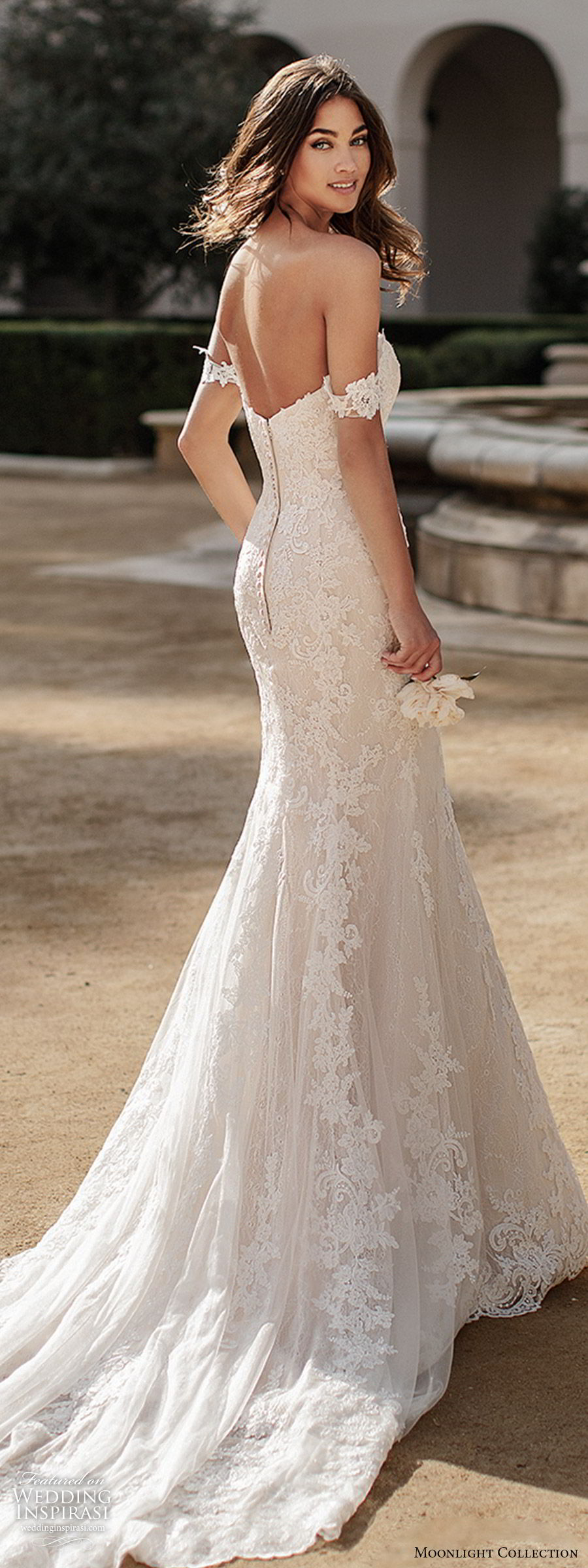 moonlight collection fall 2019 bridal off shoulder sheer straps sweetheart neckline fully embellished lace sheath mermaid trumpet wedding dress (8) elegant romantic chapel train bv