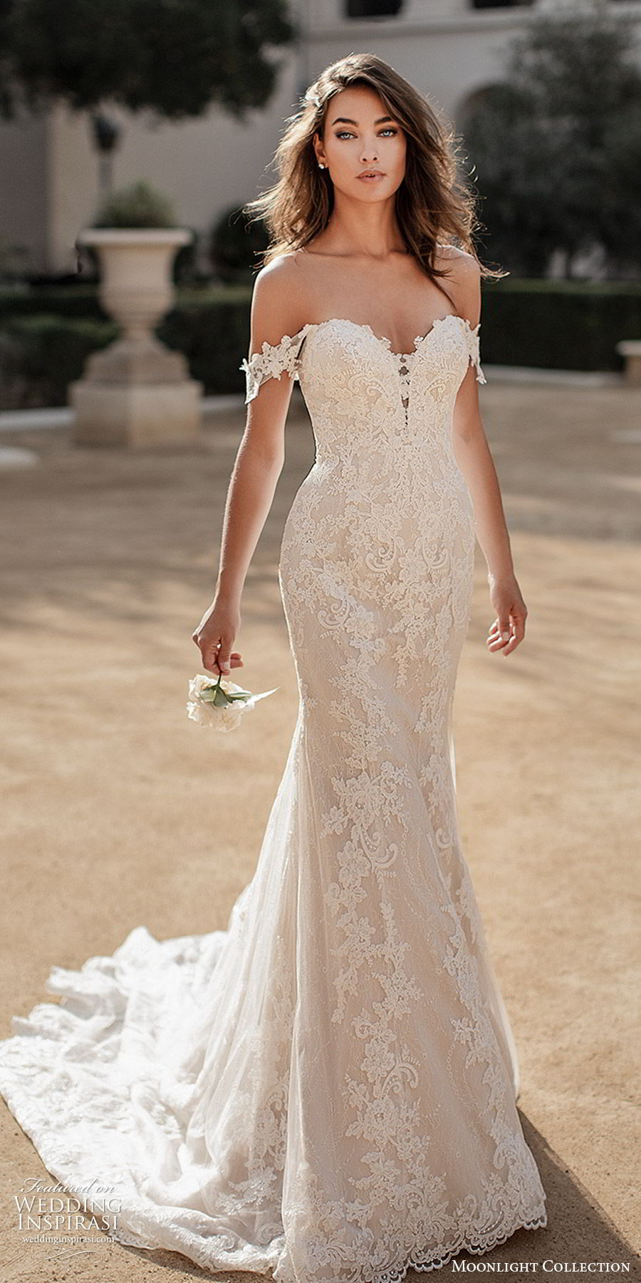 moonlight collection fall 2019 bridal off shoulder sheer straps sweetheart neckline fully embellished lace sheath mermaid trumpet wedding dress (8) elegant romantic chapel train mv
