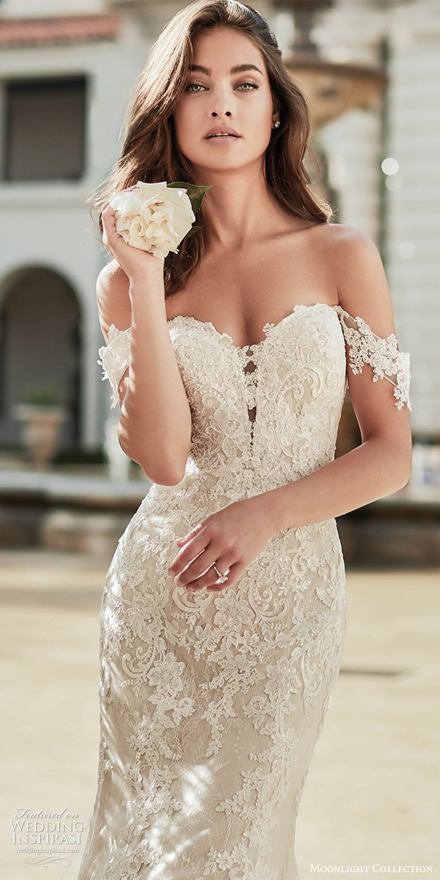 moonlight collection fall 2019 bridal off shoulder sheer straps sweetheart neckline fully embellished lace sheath mermaid trumpet wedding dress (8) elegant romantic chapel train zv