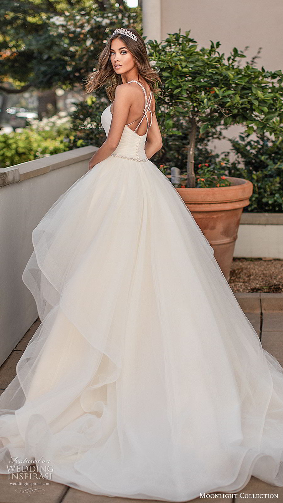 moonlight collection fall 2019 bridal sleeveless embellished straps v neck ruched bodice tiered skirt beaded waist a line ball gown wedding dress (5) clean romantic princess chapel train bv