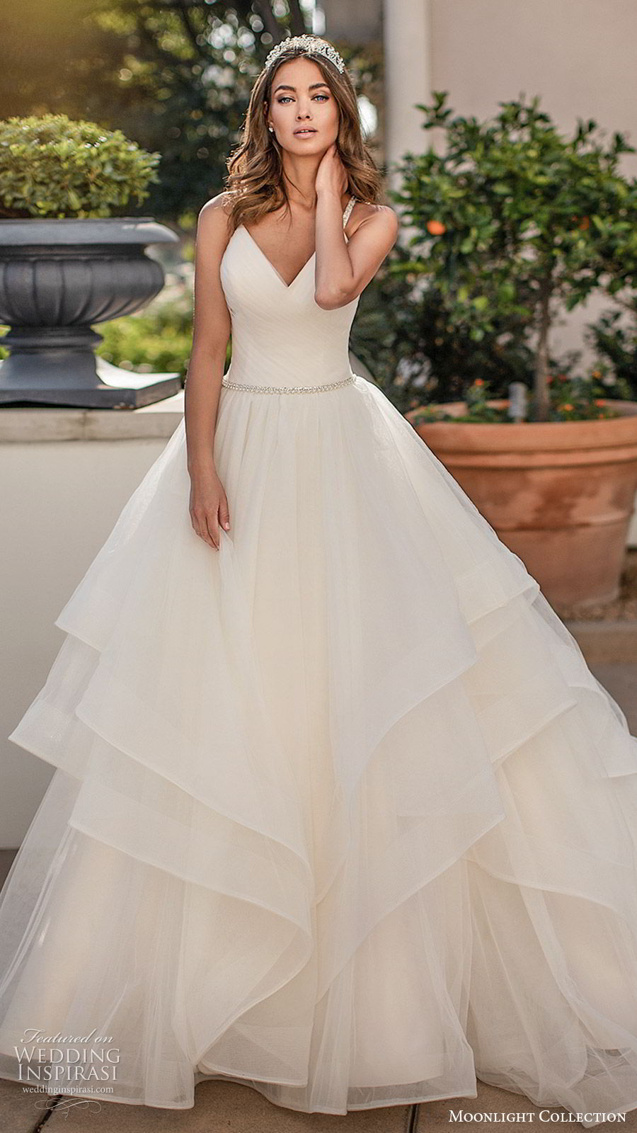 moonlight collection fall 2019 bridal sleeveless embellished straps v neck ruched bodice tiered skirt beaded waist a line ball gown wedding dress (5) clean romantic princess chapel train mv