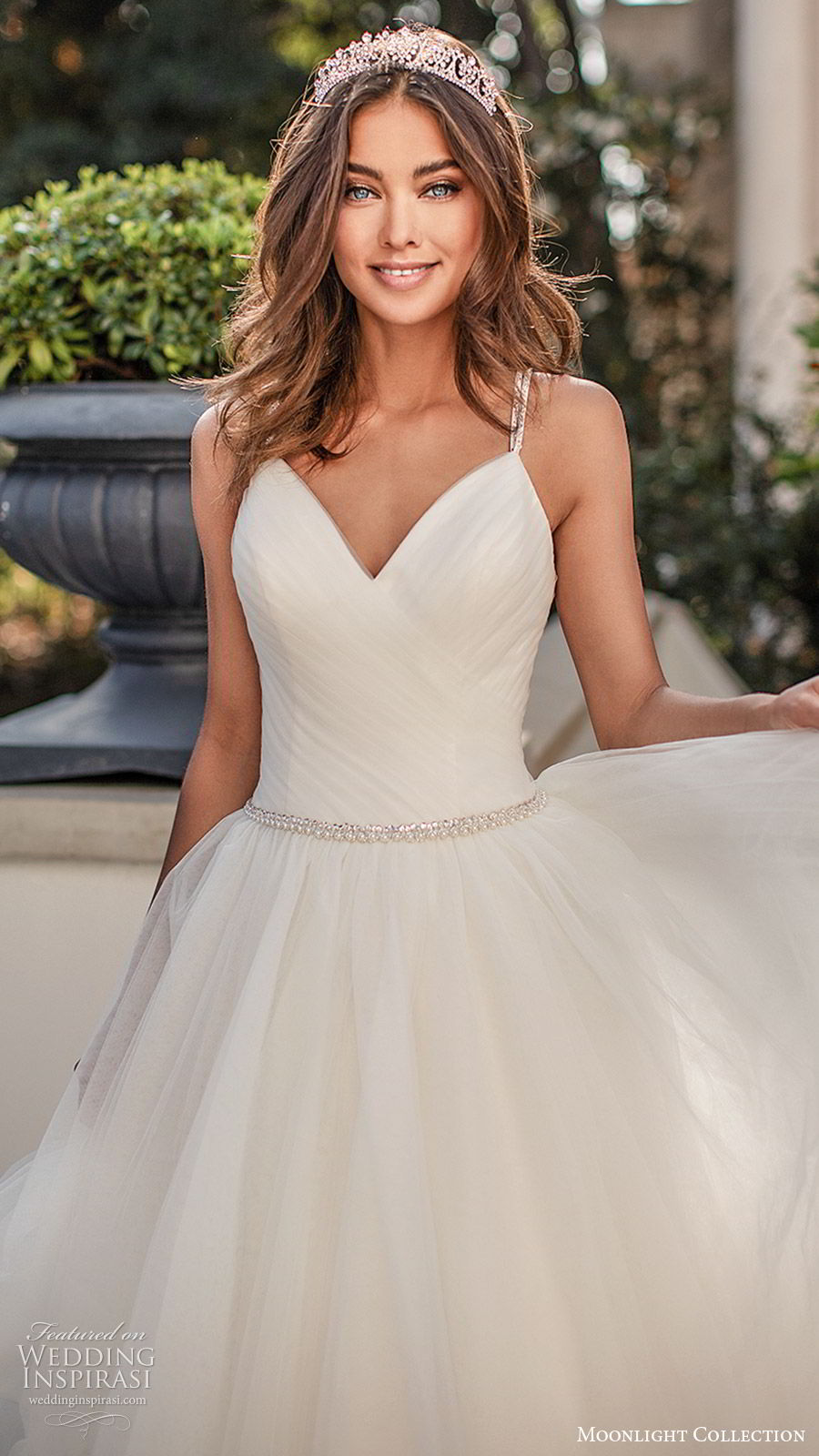 moonlight collection fall 2019 bridal sleeveless embellished straps v neck ruched bodice tiered skirt beaded waist a line ball gown wedding dress (5) clean romantic princess chapel train zv