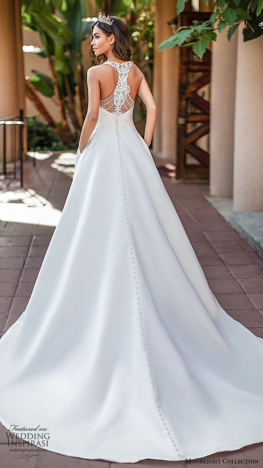 moonlight collection fall 2019 bridal sleeveless illusion straps sheer vneck sweetheart embellished bodice a line ball gown wedding dress (4) princess elegant romantic racer back chapel train bv