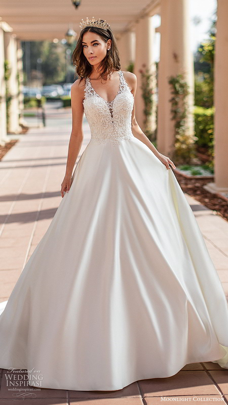 moonlight collection fall 2019 bridal sleeveless illusion straps sheer vneck sweetheart embellished bodice a line ball gown wedding dress (4) princess elegant romantic racer back chapel train mv