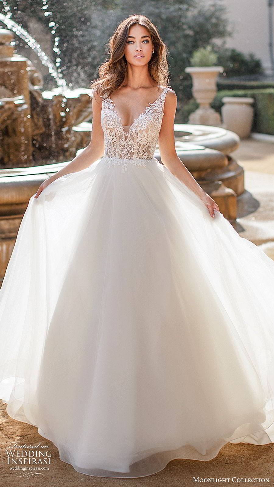 moonlight collection fall 2019 bridal sleeveless illusion straps v neckline embellished lace bodice a line ball gown wedding dress (3) elegant romantic chapel train mv