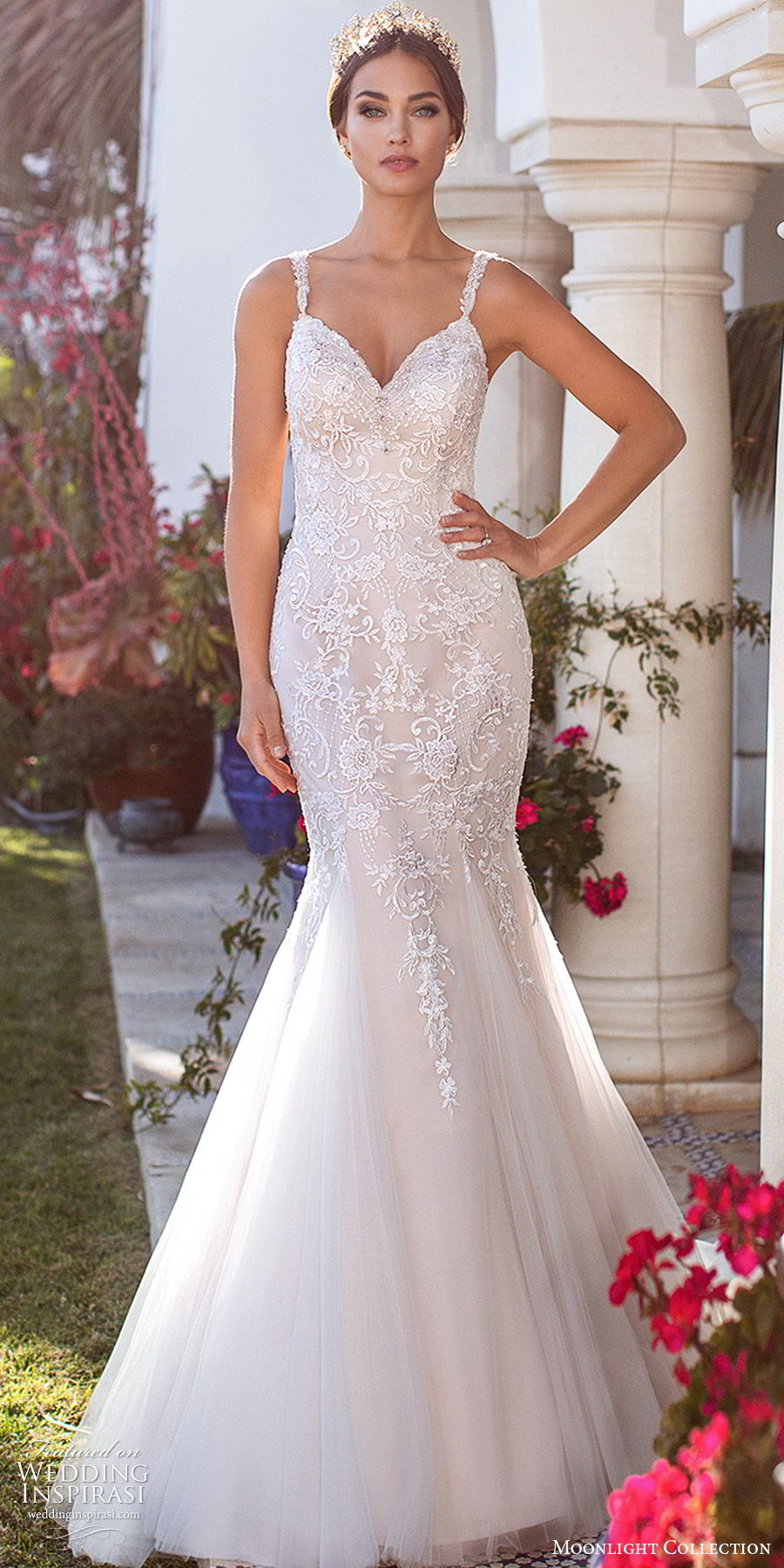 moonlight collection fall 2019 bridal sleeveless sweetheart straps embellished bodice fit flare mermaid wedding dress (1) illusion low back sweep train sleek elegant mv