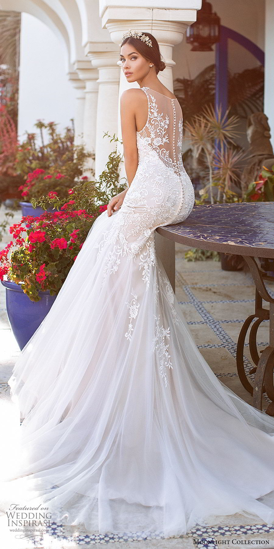 moonlight collection fall 2019 bridal sleeveless sweetheart straps embellished bodice fit flare mermaid wedding dress (1) illusion low back sweep train sleek elegant zbv