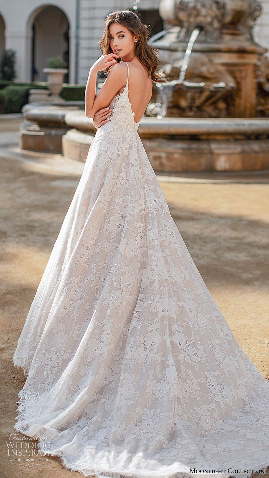 moonlight collection fall 2019 bridal sleeveless thin straps plunging v neckling fully embellished lace a line ball gown wedding dress (10) romantic princess chapel train bv