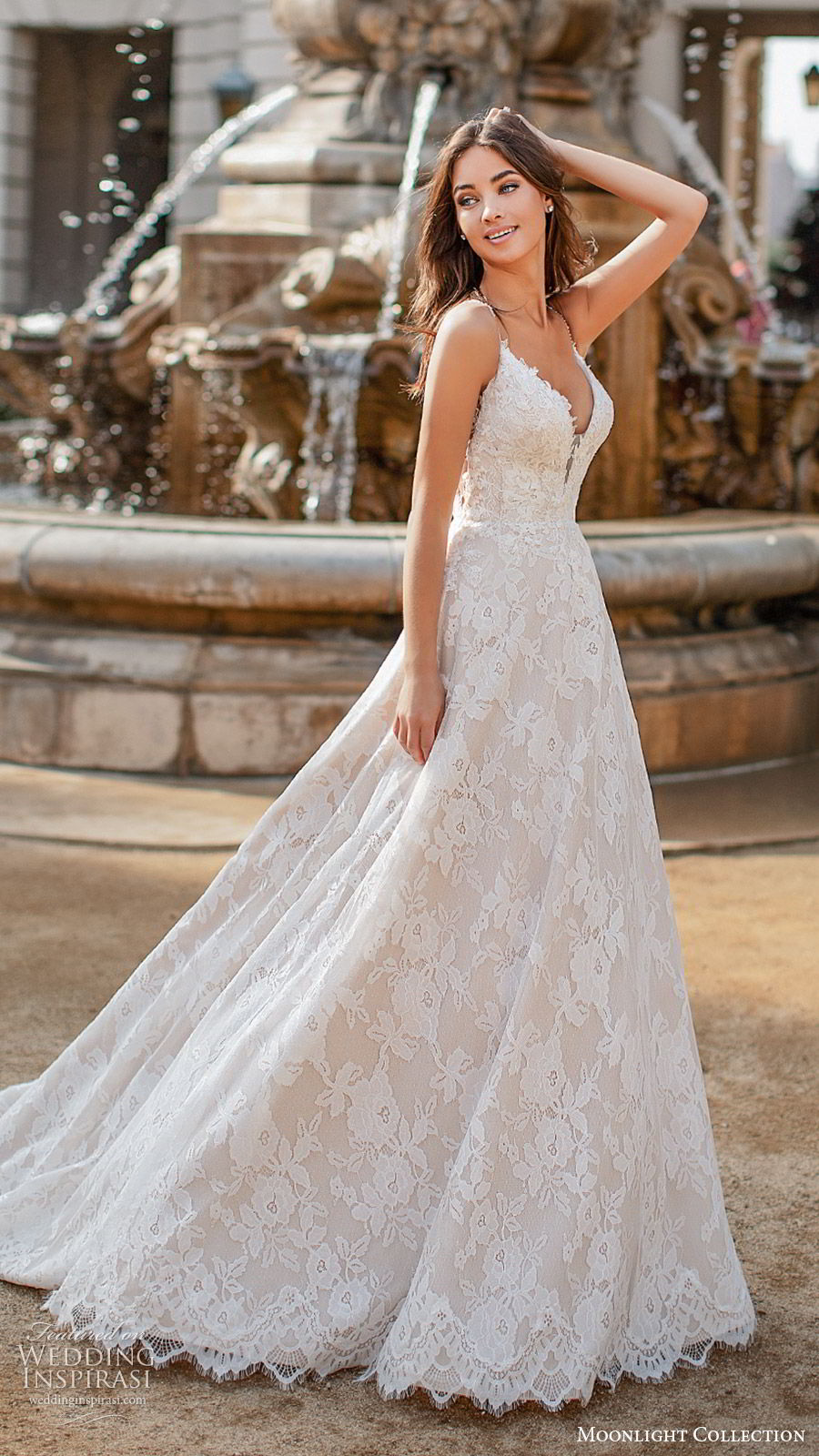 moonlight collection fall 2019 bridal sleeveless thin straps plunging v neckling fully embellished lace a line ball gown wedding dress (10) romantic princess chapel train mv