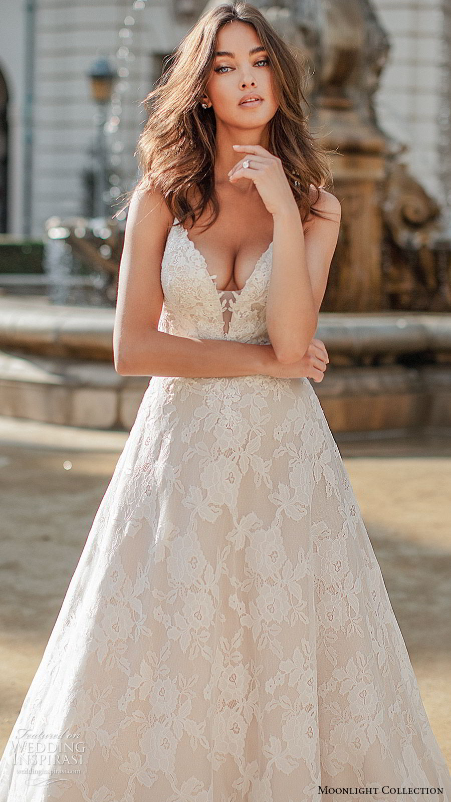 moonlight collection fall 2019 bridal sleeveless thin straps plunging v neckling fully embellished lace a line ball gown wedding dress (10) romantic princess chapel train zv