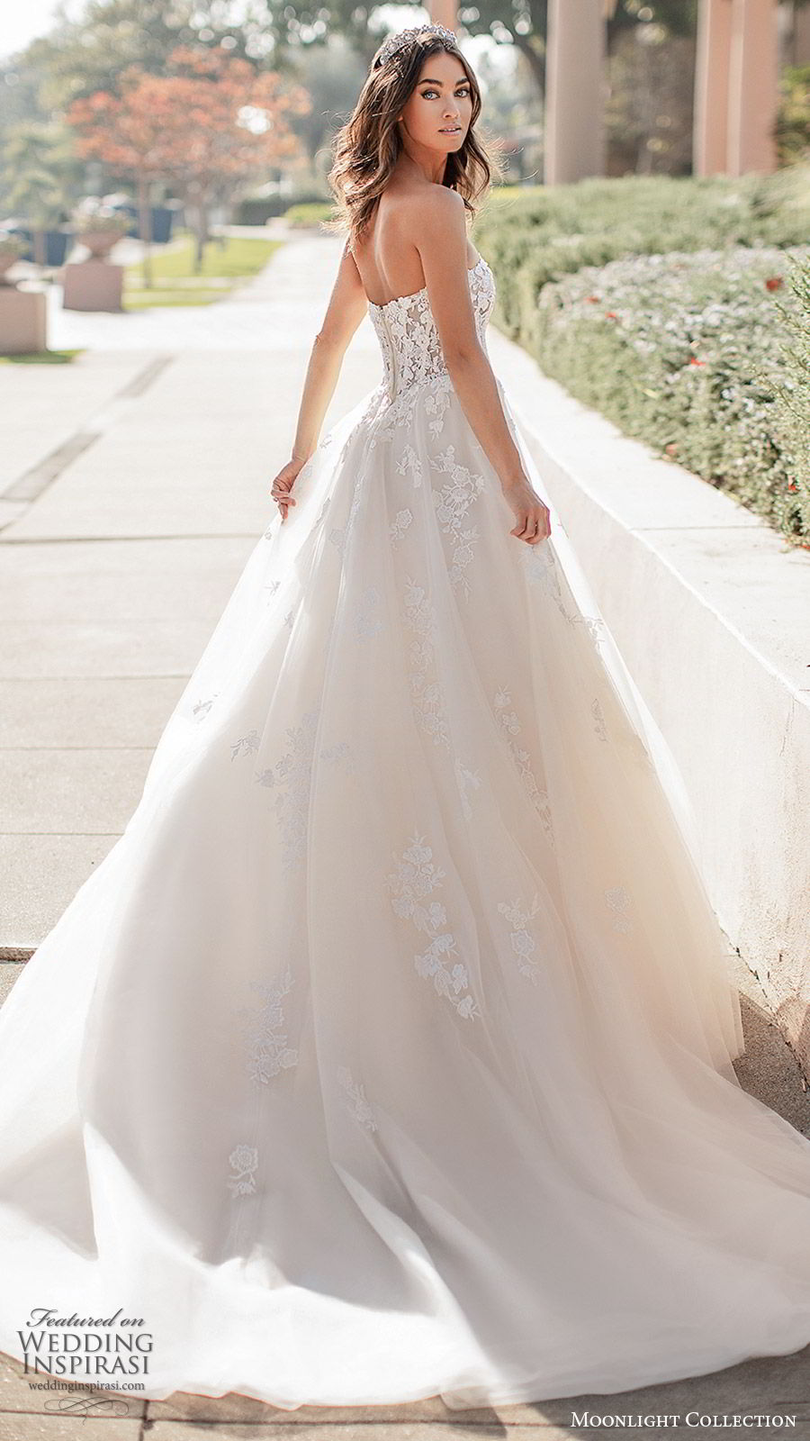 moonlight collection fall 2019 bridal strapless sweetheart embellished bodice lace ball gown a line wedding dress (6) romantic princess elegant chapel train bv