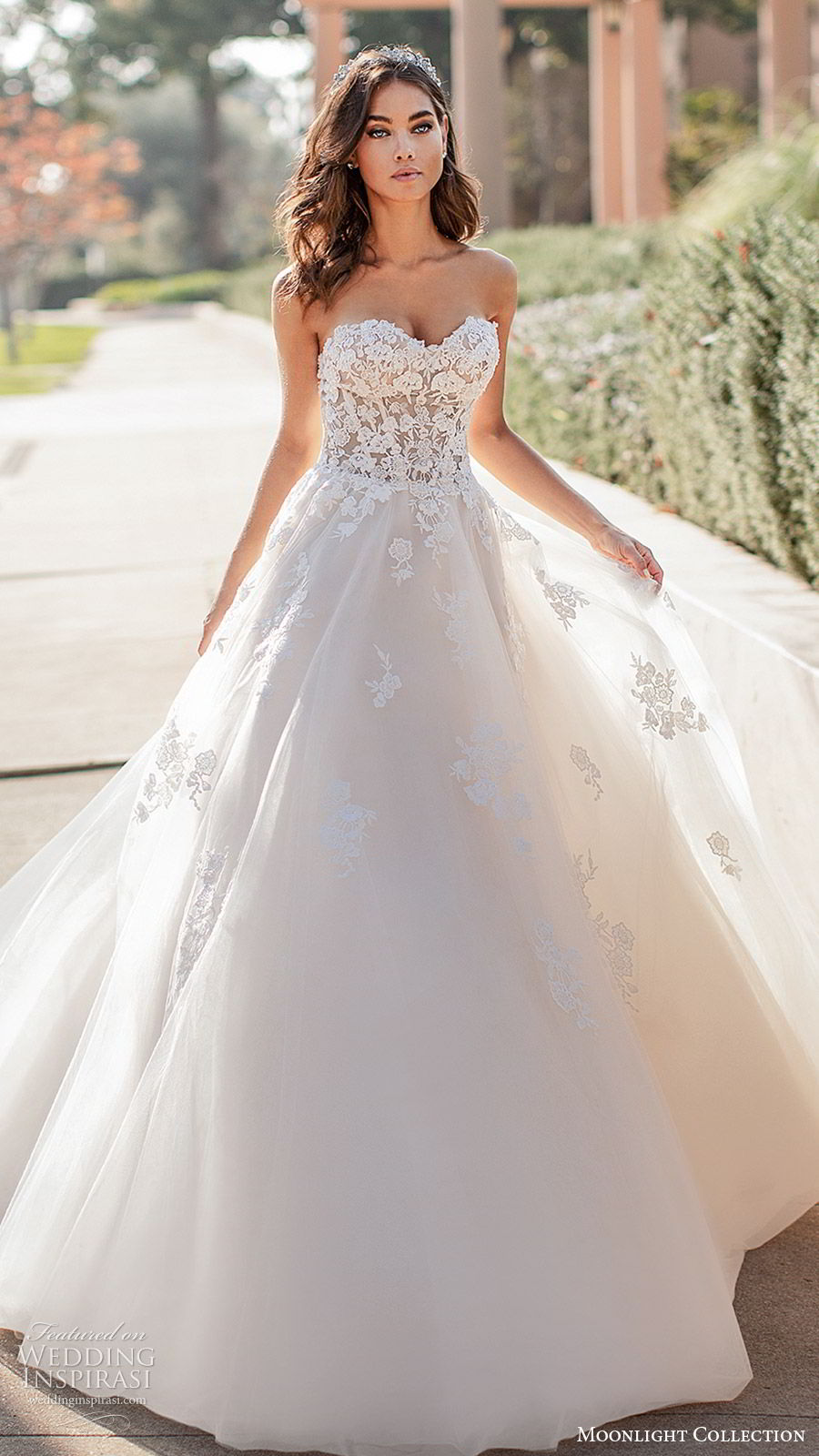 moonlight collection fall 2019 bridal strapless sweetheart embellished bodice lace ball gown a line wedding dress (6) romantic princess elegant chapel train mv