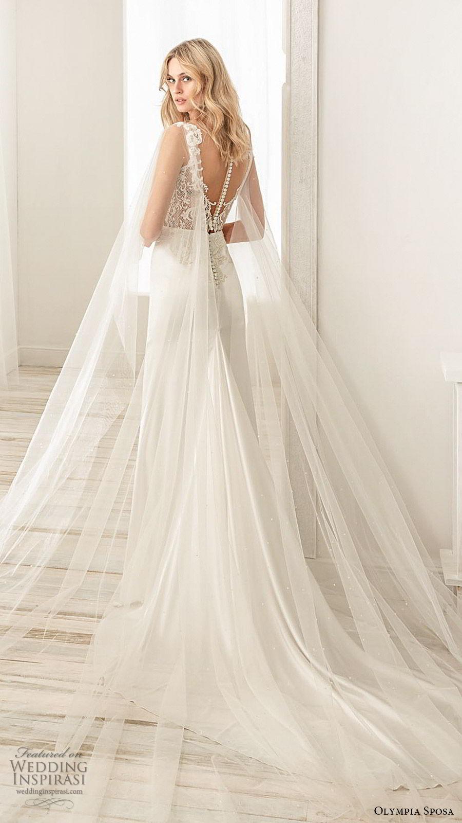olympia sposa 2020 bridal illusion flutter sleeves sweetheart neckline embellished bodice sheath wedding dress (7) elegant romantic illusion back chapel train bv