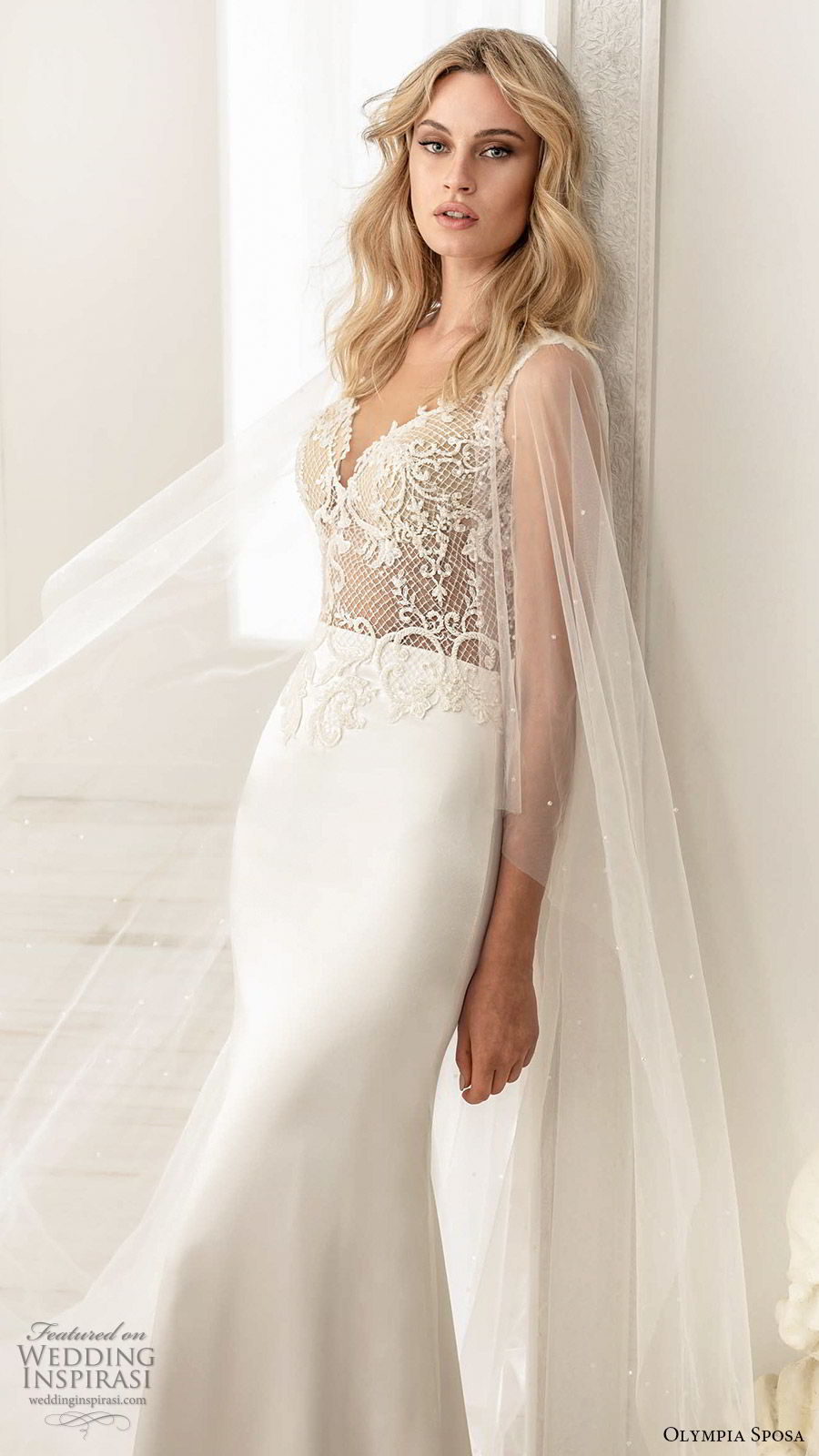 olympia sposa 2020 bridal illusion flutter sleeves sweetheart neckline embellished bodice sheath wedding dress (7) elegant romantic illusion back chapel train mv