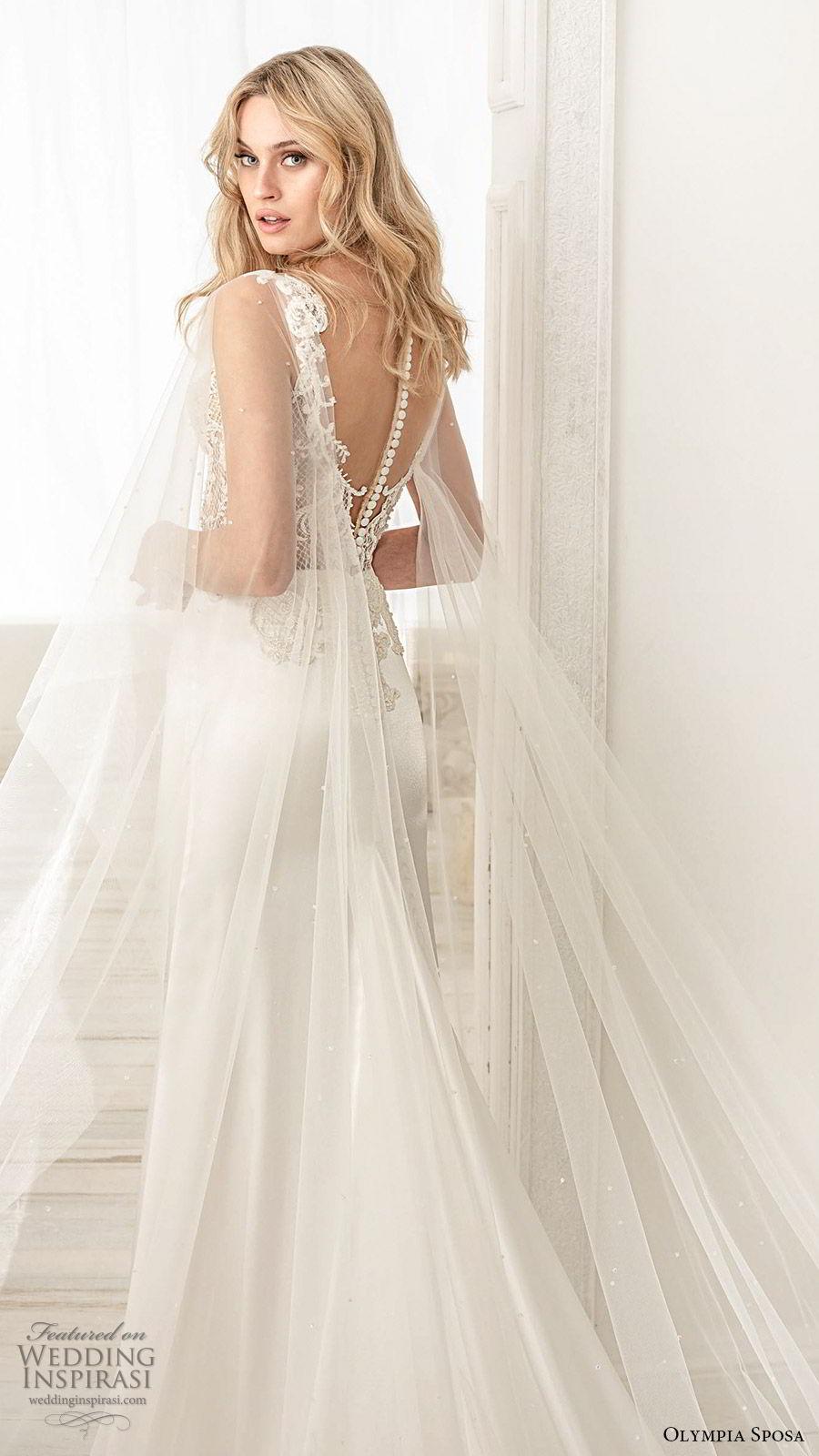 olympia sposa 2020 bridal illusion flutter sleeves sweetheart neckline embellished bodice sheath wedding dress (7) elegant romantic illusion back chapel train zbv